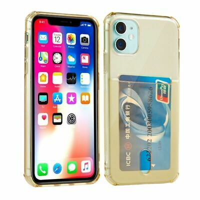 AU12.77 • Buy Clear Transparent Silicone Case With Card ID Holder Slot For IPhone 11 Pro Max X