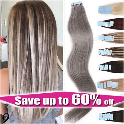 #GREY THICK Russian Tape In Real Remy Human Hair Extensions 150G Wavy Skin Wefts • 23£