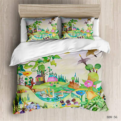 AU124.55 • Buy Garden Of Animals 3D Quilt Duvet Doona Cover Set Single Double Queen King Print
