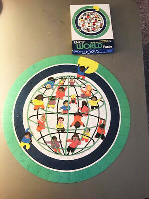 $ CDN91.28 • Buy UNICEF World Puzzle, U.S. Committee, 20 Inches Round, Jigsaw 200 Pieces-Vintage