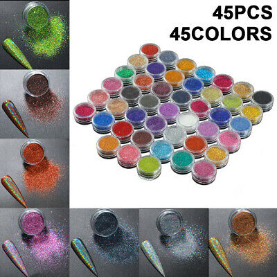 45 Pcs Fine Nail Glitter Set Decoration Dust Powder Special Value Pack UK  • 6.99£