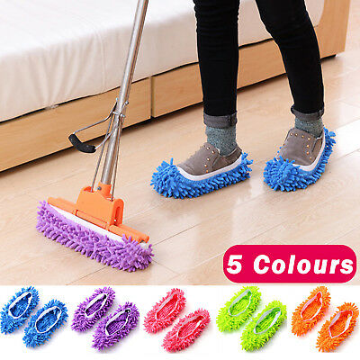 Microfibre Duster Shoe Sock Slippers Mop Dust Remover Cleaning Floor Polishers • 6.89£