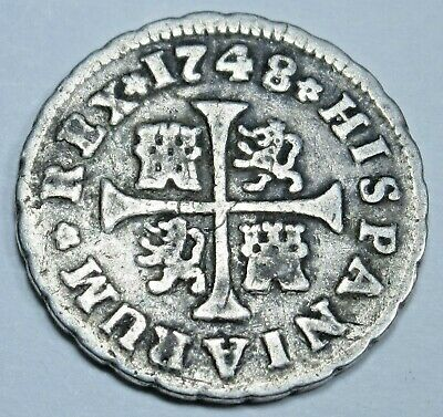 $ CDN105.39 • Buy 1748 Spanish Silver 1/2 Reales Antique 1700's Colonial Era Pirate Treasure Coin