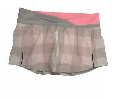 $ CDN48.52 • Buy Lululemon Women's Skirt Skort Size 10 Pleated Lined Pink Beige White Checkered