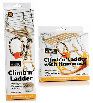 Small 'N' Furry Climb 'N' Ladder With Hammock Exercise For Hamster Gerbil Mice • 9.99£