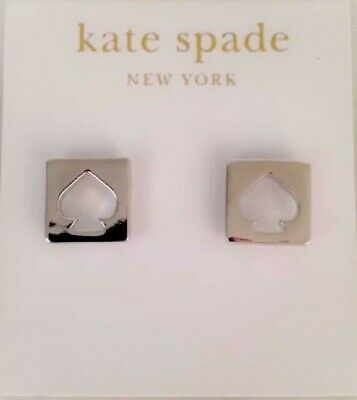 $ CDN95.01 • Buy Kate Spade New York NY SIGNATURE SQUARE LOGO EARRINGS Silver Designer With Tag
