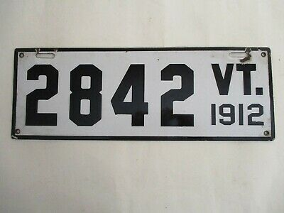 $ CDN469.27 • Buy NICE 1912 Vermont PORCELAIN  License Plate Tag