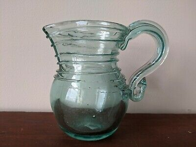 $1100 • Buy Blown Glass Pitcher New York State Antique Period Brilliant Aqua Pontil 1840