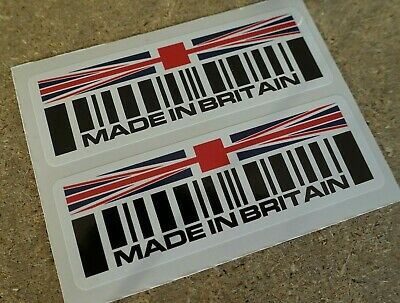 2 X MADE IN BRITAIN Barcode +country Flag Stickers Jaguar Mini Land Rover  90mm  • 1.99£