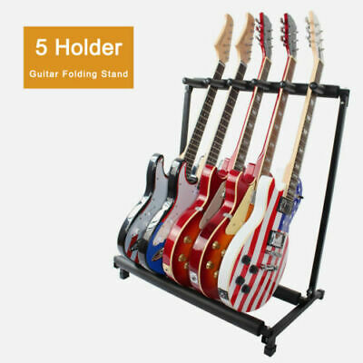 $ CDN32.13 • Buy Black 5 Way Multi Guitar Rack Stand Padded Electric Acoustic Bass Holder A