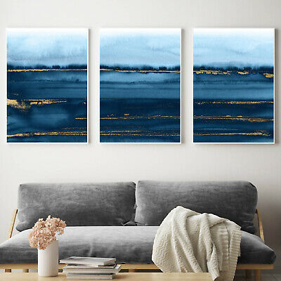Navy Blue & Gold Abstract Wall Art 3 Piece Set Watercolour Painting Print Poster • 16.99£