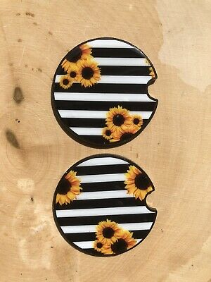 $12.50 • Buy Sunflower Car Coaster Set Of 2 Car Accessories Gift For Women