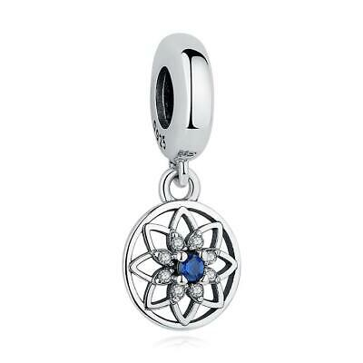 AU26.50 • Buy Blue Flower CZ S925 Sterling Silver Charm By Charm Heaven NEW
