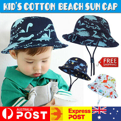 AU11.99 • Buy Baby Boy Girls Bucket Hat Cotton Summer Kid's Beach Sun Cap Dinosaur Adjustable