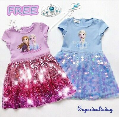 AU35.95 • Buy Girl Frozen Elsa Sparkling Sequin Princess Birthday Costume Party Dress 2-10Year