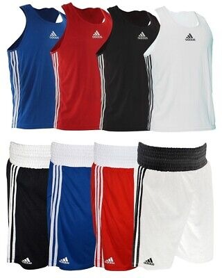 Adidas BOXING CLOTHING - ADULTS VESTS & SHORTS SET - BLUE RED WHITE BLACK • 23.99£