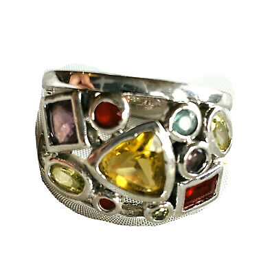 $ CDN25.80 • Buy Lia Sophia Ring Multi Color Crystal Cluster Rhodium Silver Tone Statement Sz 8