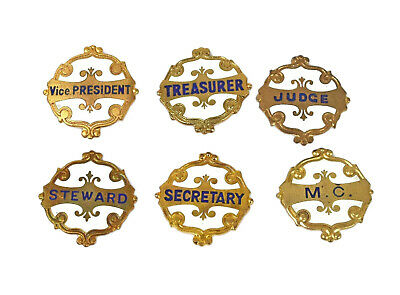 Six Antique Vintage Old Committee Society Identification Enamel Badges • 25£