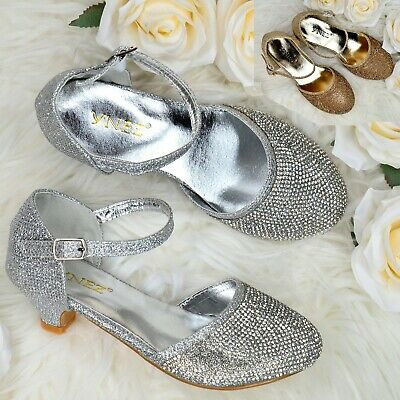 Toddler Girls Sparkly Diamante Sandals Ankle Strap Kitten Heel Occasion Shoes • 12.95£