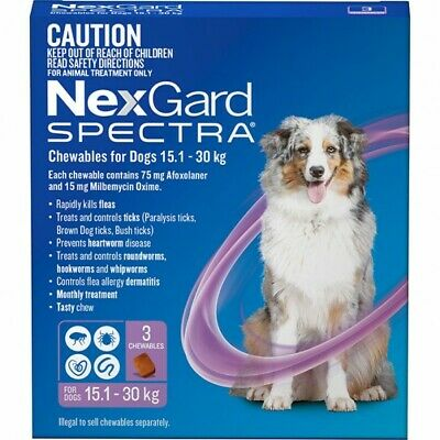 AU99.65 • Buy NexGard Spectra Chews For Dogs 15.1-30kg 6 Pack