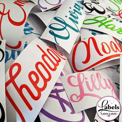 PERSONALISED COLOUR VINYL STICKER LABEL NAME WORD 3cm Or 5cm BALLOON LABELS UK • 2.40£