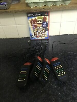 Buzz The Music Quiz + 4 Wired Buzzers - SONY PLAYSTATION 2 • 18£