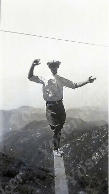 A7 Vintage Original Negative 1920 ? Young Man Balancing On Board Over Cliff 808a • 18.25£