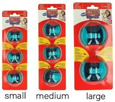 KONG Squeezz Action Dog Ball Squeaky Multi Textured Small Medium OR Large Fetch • 8.99£