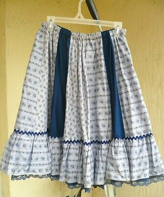 $17.50 • Buy Blue Square Dance Full Skirt S M L Tiny Pink Floral Country Ruffled Ric Rac Lady