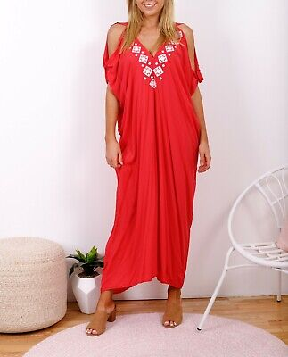 AU55 • Buy Pink Turquoise Rayon Cold Shoulder Relax Fit Bohemian Kaftan OSFA 16-18-20