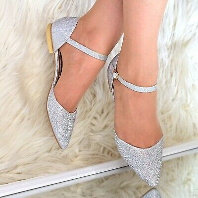 Womens Flat Evening Party Shoes Ankle Strap Pointy Toe Rhinestone Shoes Size  • 14.95£