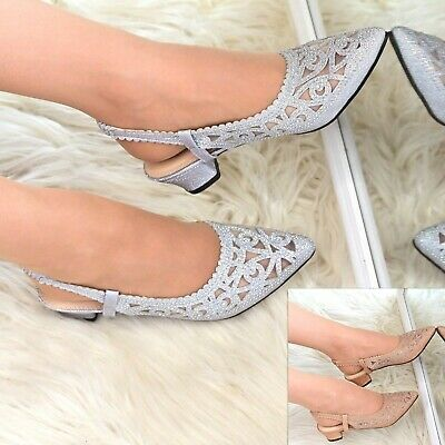 £16.95 • Buy Womens Low Heel Party Shoes Rhinestone Sparkly Slingback Pointy Toe Evening Size