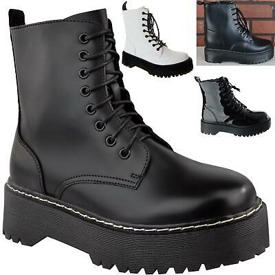 New Womens Ladies Chunky Platform Retro Lace Up Combat Army Goth Punk Boots Size • 19.99£