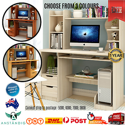 AU207.88 • Buy Computer Desk Workstation Home Office Study Shelves Cabinet Drawers 3 Colours