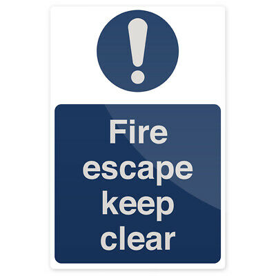 Fire Escape Keep Clear Sign 200 X 300mm Rigid - Silverline - SL19 • 4.39£