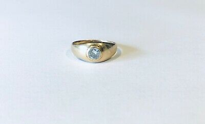 $1100 • Buy Vintage 14KT Yellow Gold Diamond Gypsy Ring, Ring Size 8.5