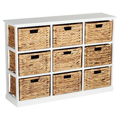 HARTLEYS 3x3 WHITE WOOD HOME STORAGE UNIT 9 WICKER DRAWER BASKETS CHEST/CABINET • 154.99£