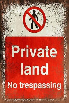 No Trespassing Farm Gate Fence Funny Aged Look Vintage Style Metal Sign Plaque