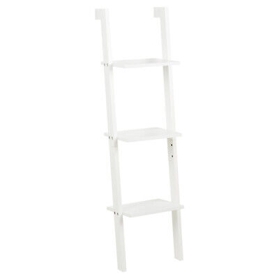 Hartleys 3 Tier White Leaning Ladder Wall Shelf Shelving/bookcase Display Unit • 32.99£