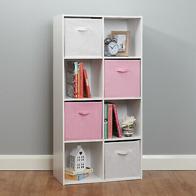 8 Cube Storage Unit White/Pink Boxes Childrens/Kids Bedroom Toy Basket Shelves • 66.99£
