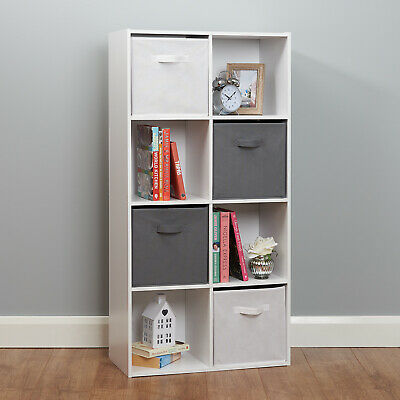 8 Cube Storage Unit White/Grey Boxes Childrens/Kids Bedroom Toy Basket Shelves • 66.99£