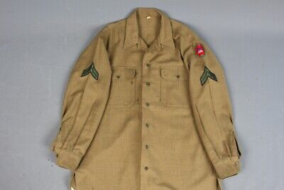 Vtg Men's 1940s WWII US Army Wool Uniform Shirt 16x33 Large 40s WW2 VII Corps • 43.88£