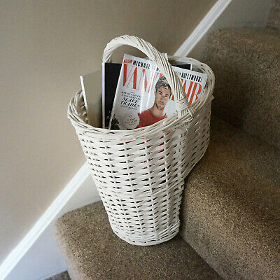 Oval Whitewash Wicker Stair Basket With Carry Handle Step Tidy/Organiser/Storage • 19.99£