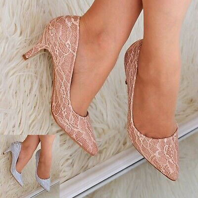 £18.95 • Buy Womens Pointed Toe Lace Mid Heel Shoes Full Toe Glitter Evening Wedding Courts