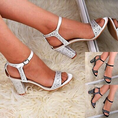 £15.96 • Buy Womens Satin Mid Block Heel Sandals Ankle Strap Rhinestone Occasion Shoes Size