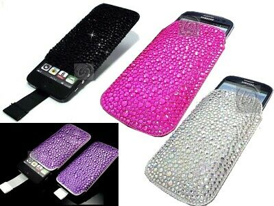 £3.50 • Buy Luxury Slim Crystal Bling Sparkle Diamond Pull Cord Tab Case Cover Pouch Various