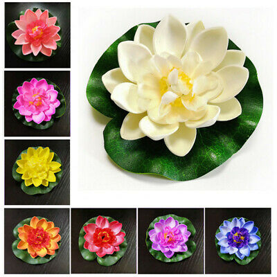 $ CDN4.63 • Buy 5/10 PCS Artificial Lotus Flower Lily Pad Floating Fish Pond Colorful Decoration