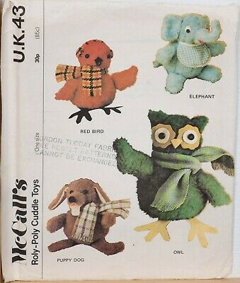 McCalls Sewing Pattern Vintage Roly-Poly Toy Animals Elephant Dog Owl 1970s 43 • 14.95£