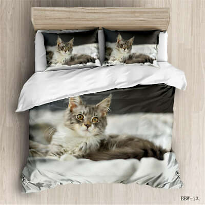 AU129.55 • Buy Cute Grey Cat 3D Quilt Duvet Doona Cover Set Single Double Queen King Print