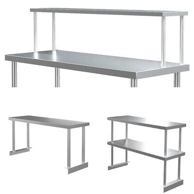 Single/Double Tier Over Shelf Prep Table Stainless Steel Top Overshelf Catering • 59.95£